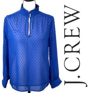 J. Crew Sheer Polka Dot Long Sleeve Hi Neck Top 6